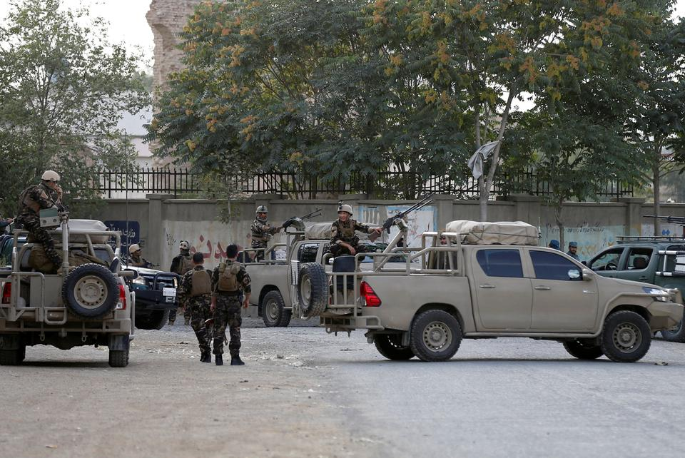 Afghan security forces arrive at the site of a blast in Kabul, Afghanistan July 15, 2018.