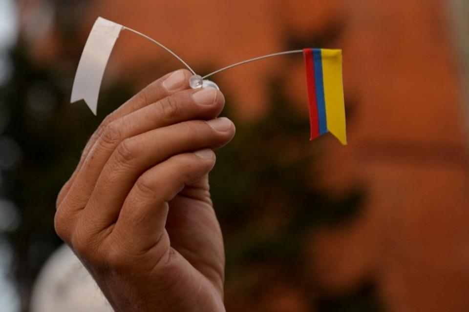 A supporter rallying for the nation's new peace agreement with FARC holds a tiny flag during a march in Bogota, Colombia.