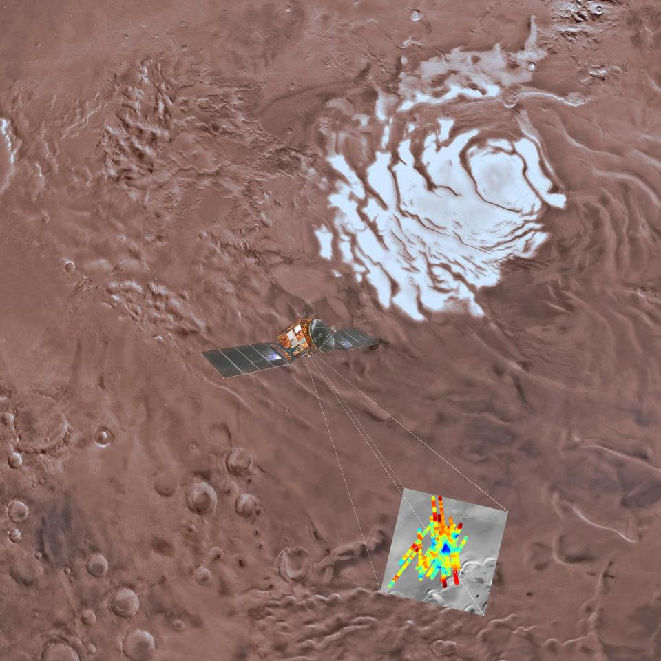 This image provided by the ESA/INAF shows an artist's rendering of the Mars Express spacecraft probing the southern hemisphere of Mars. At upper right is the planet's southern ice cap. The inset image at lower right shows the area where radar readings were made. The blue triangle indicates an area of very high reflectivity, interpreted as being caused by the presence of a reservoir of water, about a mile below the surface.