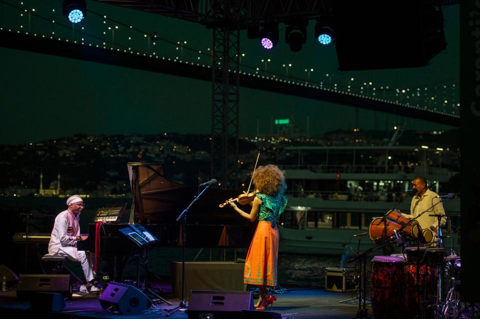 Omar Sosa, and Yilian Canizares perform at the The Marmara Esma Sultan Mansion on July 9, 2018.