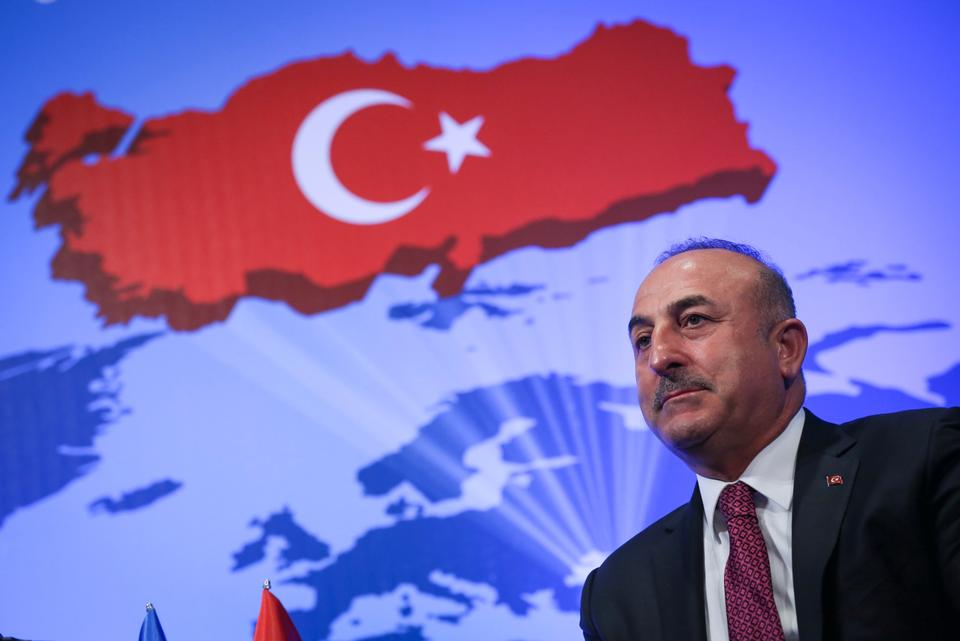 Turkey's Foreign Minister  Mevlut Cavusoglu speaks at the 10th Ambassadors' Conference in the capital Ankara.