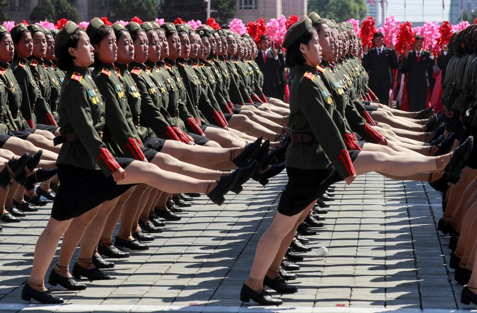 Soldiers march during a military parade marking the 70th anniversary of North Korea's foundation in Pyongyang, North Korea, September 9, 2018.