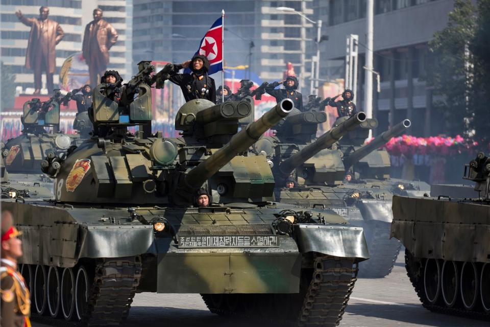 Tanks roll past during a parade for the 70th anniversary of North Korea's founding day in Pyongyang, North Korea, September 9, 2018.