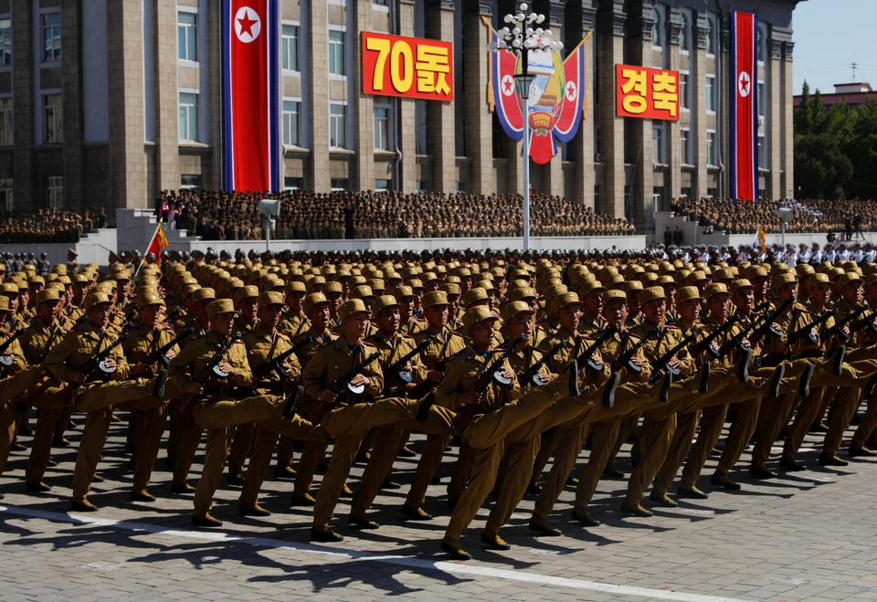 Soldiers march during a military parade in Pyongyang, North Korea, September 9, 2018.
