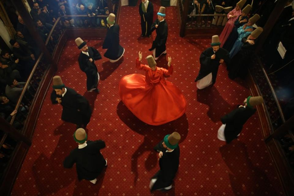 The famous whirling dervishes of Turkey perform at Karabas Veli Dervish Lodge during the celebrations for Prophet Muhammad in the city of Bursa, Turkey.