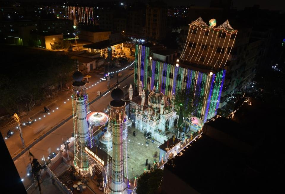 An illuminated mosque is pictured amid the Mawlid celebrations in Karachi, Pakistan.
