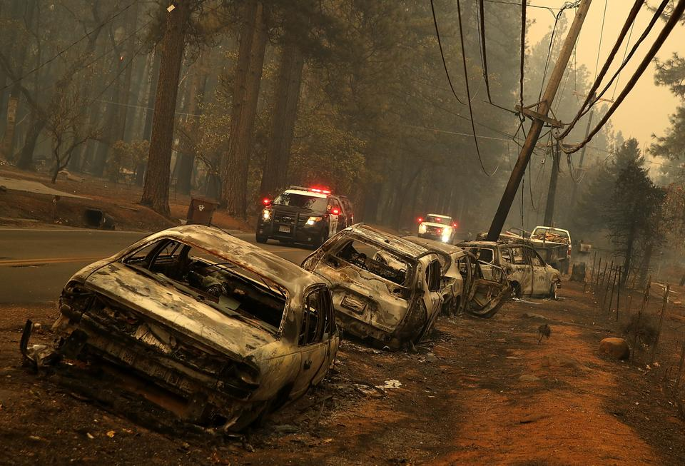 Damage caused by wildfires in Paradise, California on November 11, 2018.