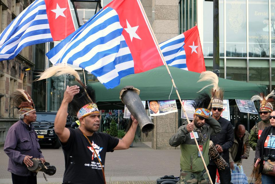 West Papua's morning star flag has been used as a separatist group symbol. April 22, 2016.