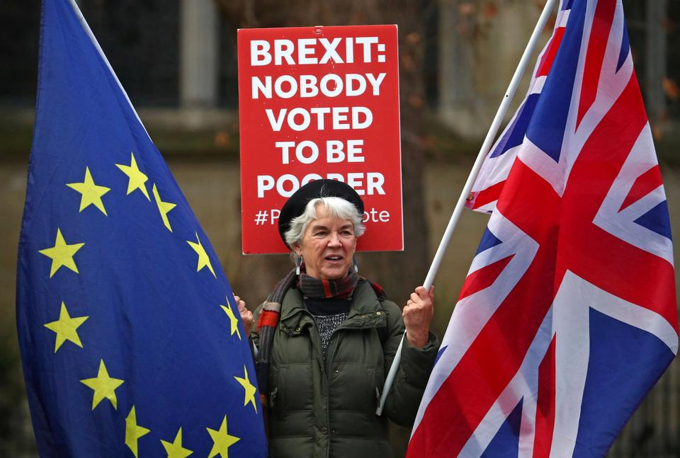 A pro-EU supporter holds flags outside the Houses of Parliament in Westminster London, Britain, December 19, 2018.