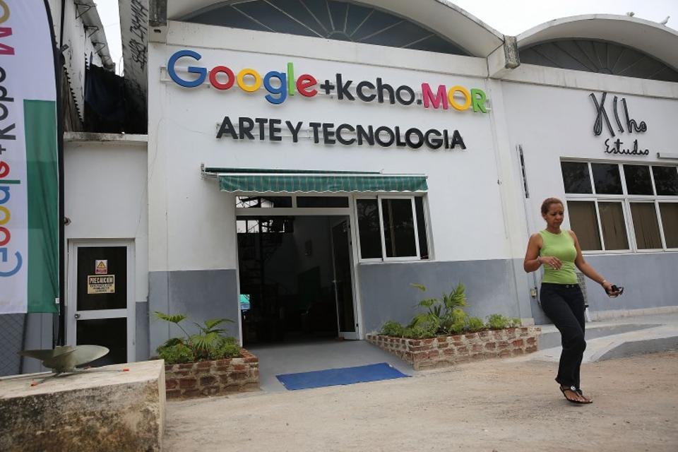 The studio that Google and Alexis Leiva Machado, a Cuban sculptor known as Kcho, is seen where the technology company and artist have teamed up to bring high speed internet and computers to a small studio space.