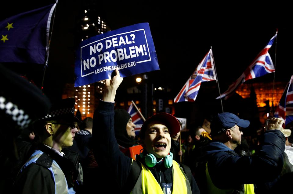 Pro-Brexit protesters demonstrate outside the Houses of Parliament, ahead of a vote on Prime Minister Theresa May's Brexit deal, in London, Britain, January 15, 2019.