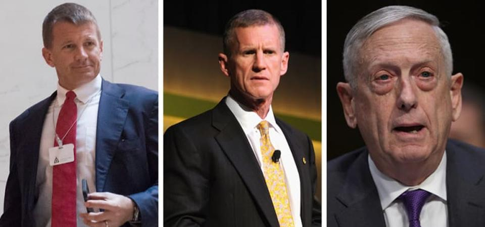 From left to right: Erik Prince, Stanley McChrystal, and James Mattis.  Source: Getty Images