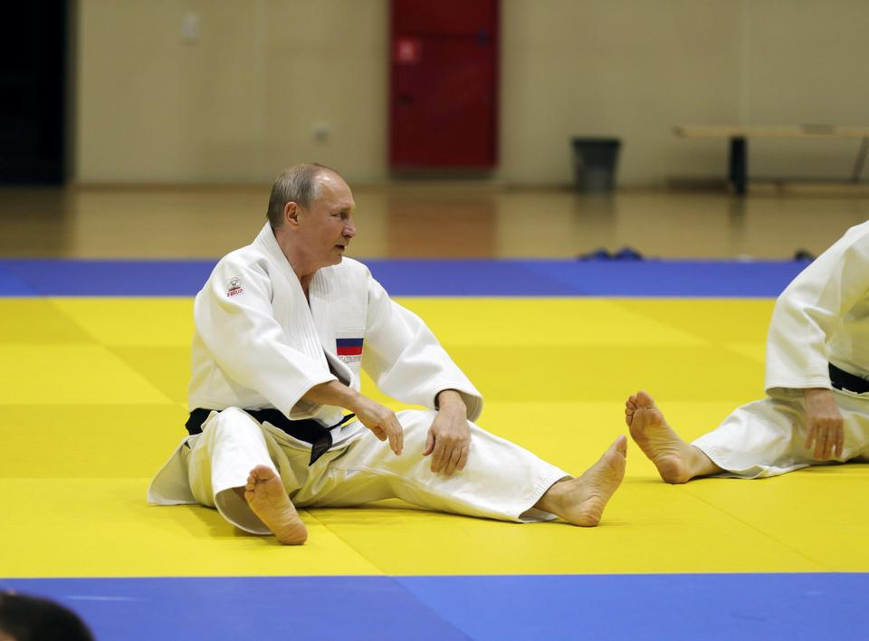Russian President Vladimir Putin attends a judo training session at the Yug-Sport sport and training complex in the Black sea resort of Sochi, Russia, February 14, 2019.