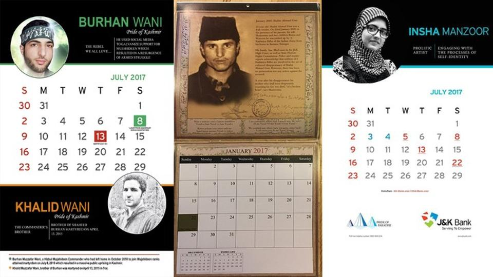 The Aalaw calendar, left, features Burhan Wani, while the APDP calendar, in the middle, displays photos belonging to men who have been forcibly disappeared by state forces. The bank calendar, meanwhile, has cultural and sporting figures. (TRT World)