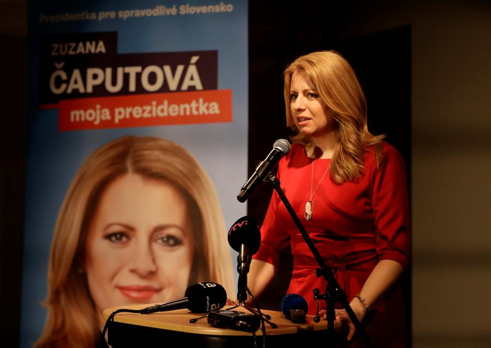 Slovakia's presidential candidate Zuzana Caputova speaks after the first unofficial results at a party election headquarters in Bratislava, Slovakia, March 16, 2019.