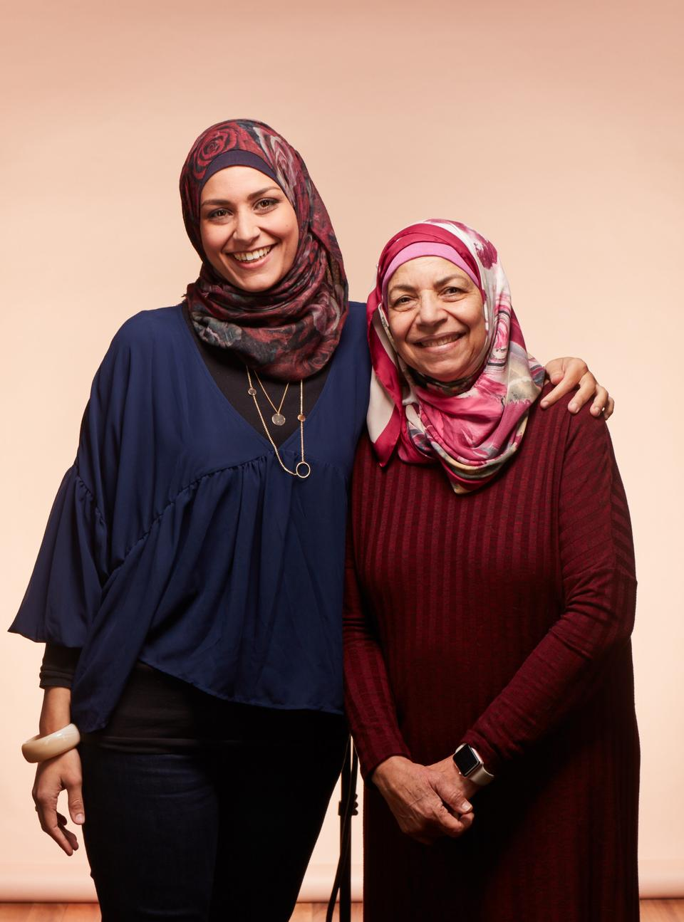 Galila Abdelsalam (R) founded and runs the Islamic Women's Association and Lamisse (L) is now recently divorced and trying to reconcile herself to her faith and identity.