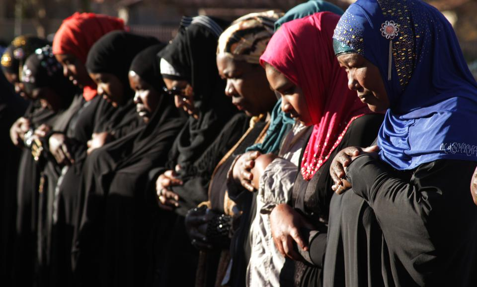 South African Muslims praying in Johannesburg  [File: Courtney Quirin/AP Photo]