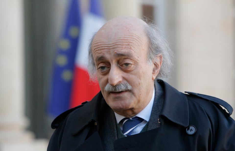 Lebanese Druze leader Walid Jumblatt, who is one of the kingmakers in Beirut's  turbulent politics, talks to the media at the Elysee Palace after his meeting with French President Francois Hollande in Paris on Jan. 28, 2013.