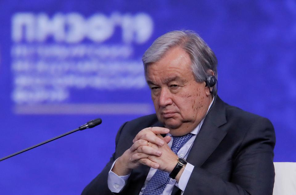 UN Secretary-General Antonio Guterres attends a session of the St. Petersburg International Economic Forum (SPIEF), Russia June 7, 2019.