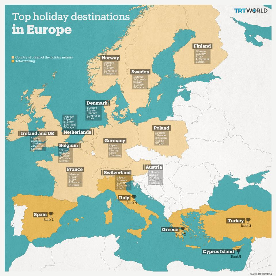 Holiday Map Of Spain.Turkey Is One Of The Top Summer Holiday Destinations For Europeans