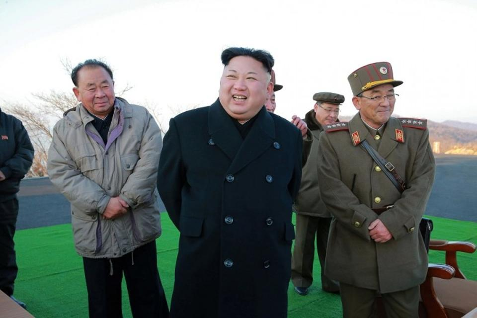 North Korean leader Kim Jong-un supervising a ballistic rocket-launching drill in this undated file photo.