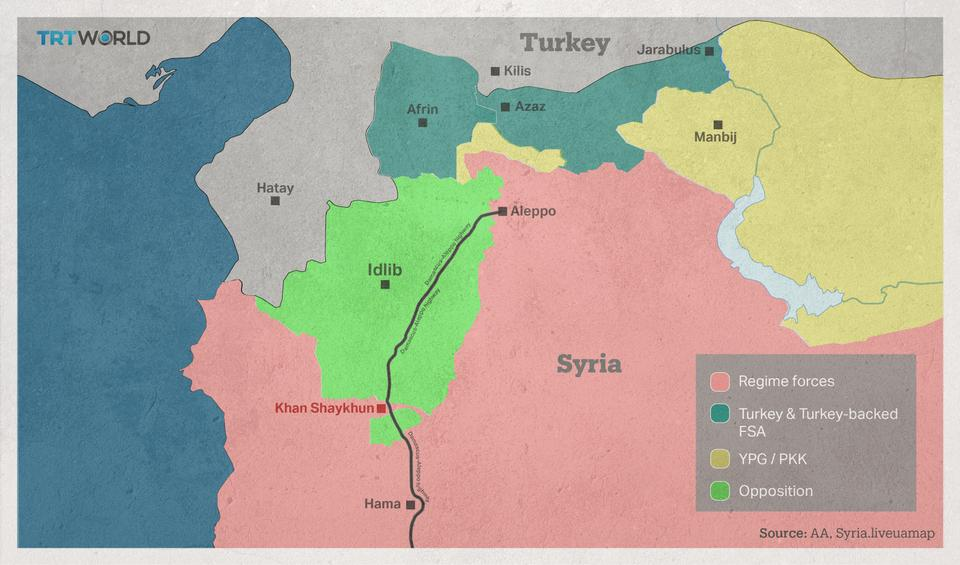 The map shows Khan Shaykhun, which is located on the Damascus-Aleppo Highway in northwestern Syria.