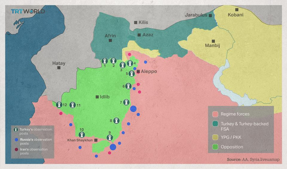 The divided territories show different forces in northern Syria.