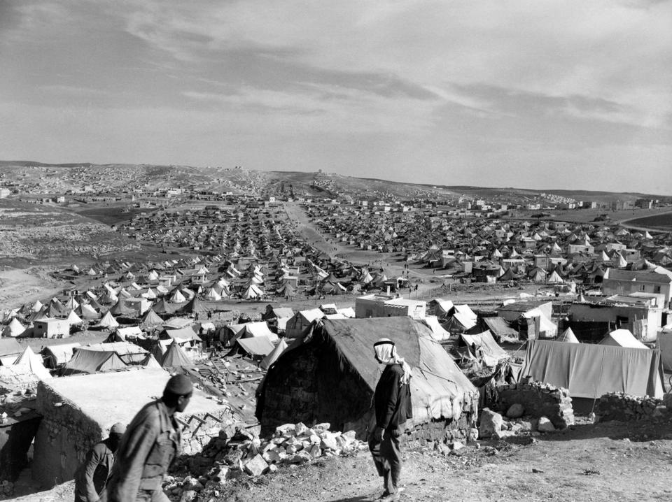 Hundreds of thousands of Palestinians were forced to live in camps in neighboring countries after Israel pushed them out of their homes.