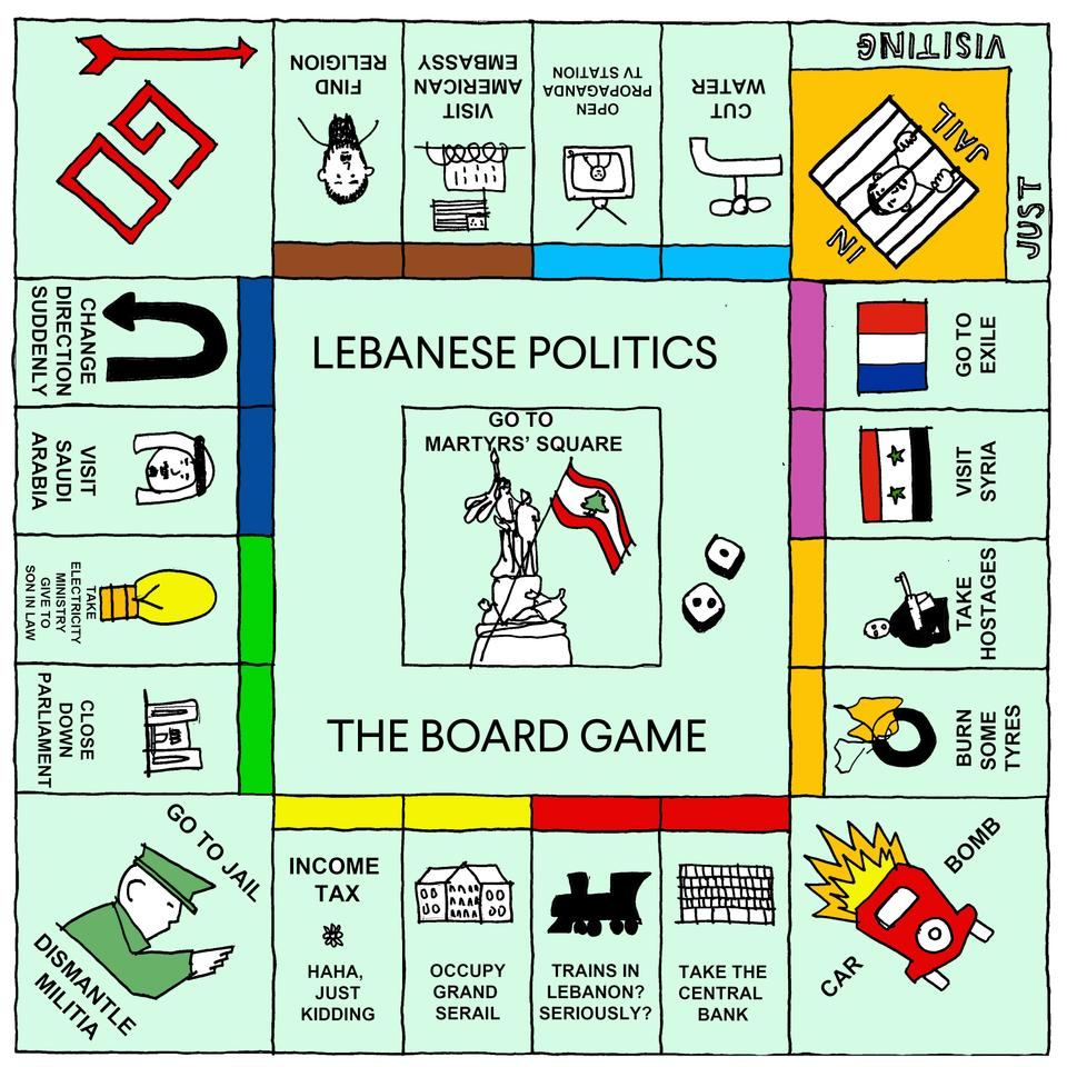 'Lebanese Politics: The Board Game' © Karl reMarks, from And Then God Created the Middle East and Said 'Let There Be Breaking News' published by Saqi Books