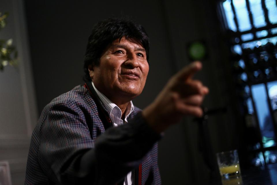 Former Bolivian President Evo Morales gestures during an interview with Reuters, in Mexico City, Mexico November 15, 2019.