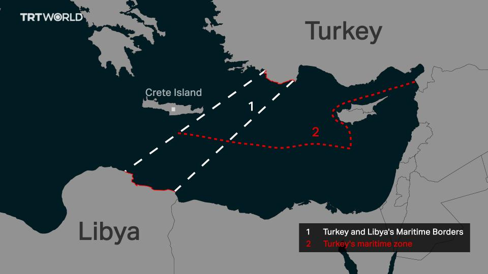 The map shows the maritime area secured by the deal between Turkey and Libya in the Eastern Mediterranean Sea.