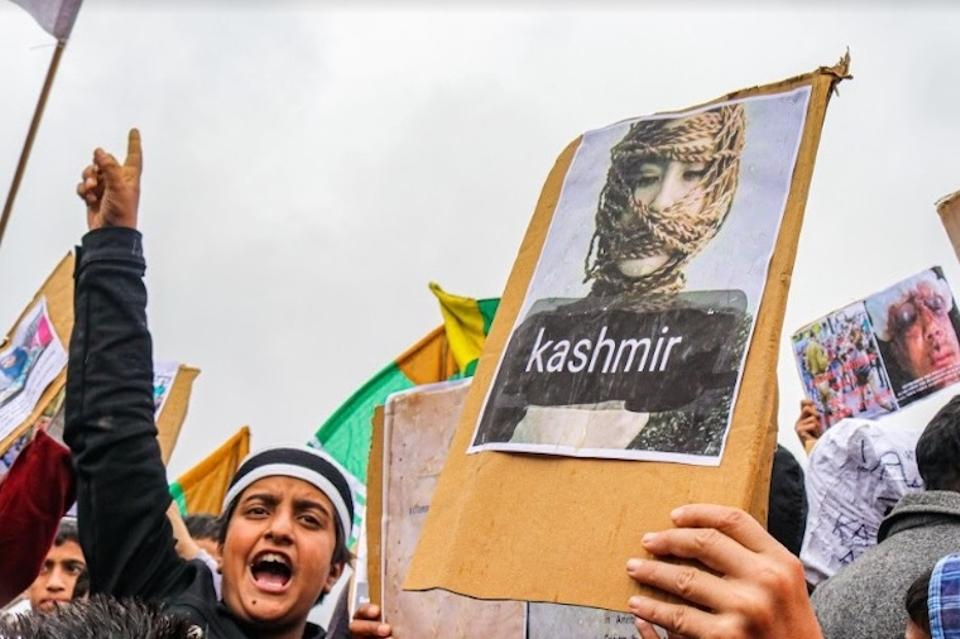 Kashmiris protest in Indian-administered Kashmir against an Indian government lockdown that accompanied India's decision to revoke Jammu and Kashmir's nominal autonomy.