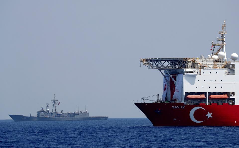 Turkish drilling vessel Yavuz is escorted by Turkish Navy frigate TCG Gemlik (F-492) in the eastern Mediterranean Sea off Cyprus, August 6, 2019
