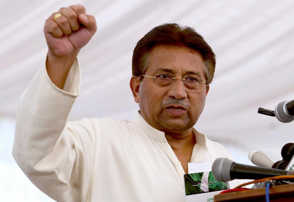 Pakistan's former President and military ruler Pervez Musharraf addresses his party supporters at his house in Islamabad, Pakistan on April 15, 2013.