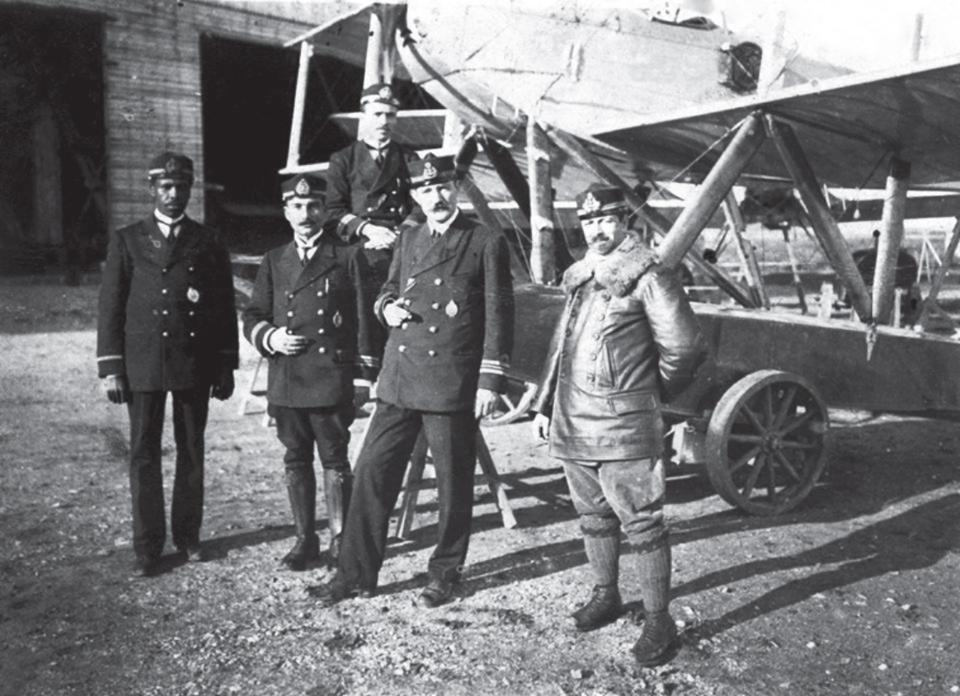 During World War I, Ahmet Ali Celikten (on the extreme left) standing with his colleagues at Yesilkoy Naval Aircraft School.