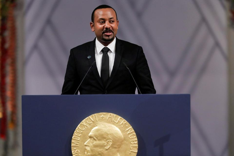 Nobel Peace Prize Laureate Ethiopian Prime Minister Abiy Ahmed Ali delivers his speach during the awarding ceremony in Oslo City Hall, Norway December 10, 2019.