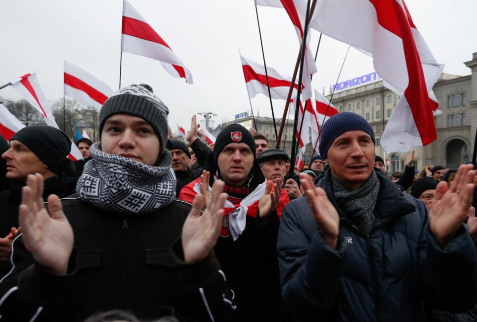 Demonstrators take part in a rally against plans to integrate the country's economy with Russia, in Minsk, Belarus December 21, 2019.