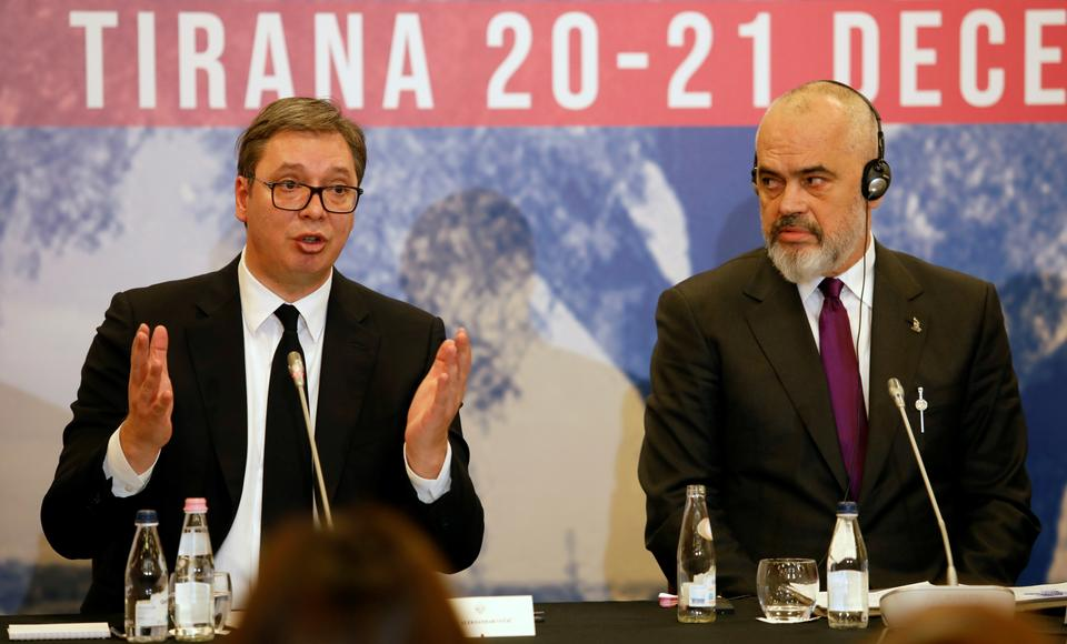 Serbia's President Aleksandar Vucic and Albania's Prime Minister Edi Rama attend a news conference during a regional meeting of Western Balkan countries, in Tirana, Albania, December 21, 2019.