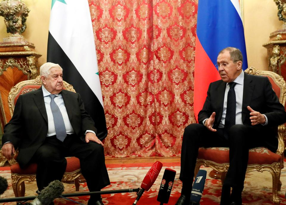 Russia's Foreign Minister Sergei Lavrov and Syrian regime's Foreign Minister Walid Muallem hold a meeting in Moscow, Russia on December 23, 2019.