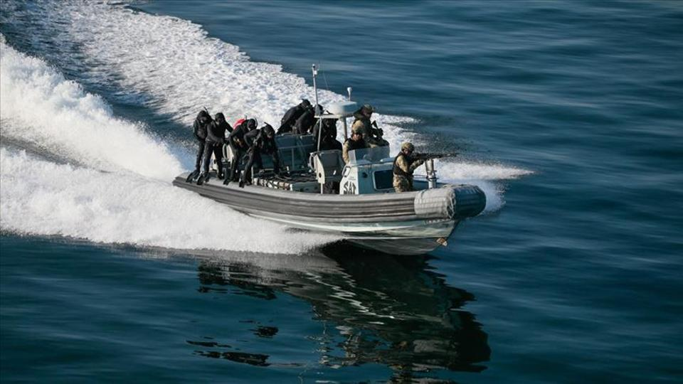 A Turkish assault boat is pictured during Turkey's Blue Homeland exercises in March 2019.