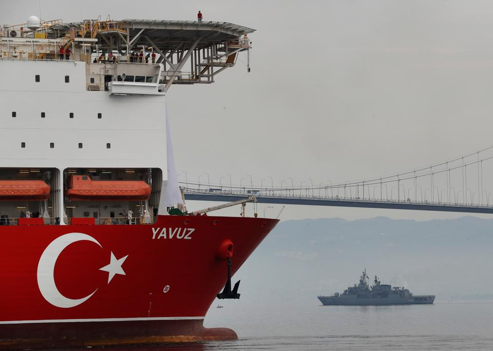 Turkey's 230-meter (750-foot) drillship 'Yavuz' escorted by a Turkish Navy vessel, crosses the Marmara Sea on its way to the Mediterranean, from the port of Dilovasi, outside Istanbul on June 20, 2019.