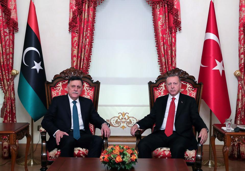 Turkish President Recep Tayyip Erdogan meets with Libya's internationally recognised Prime Minister Fayez al-Sarraj in Istanbul, Turkey, November 27, 2019.
