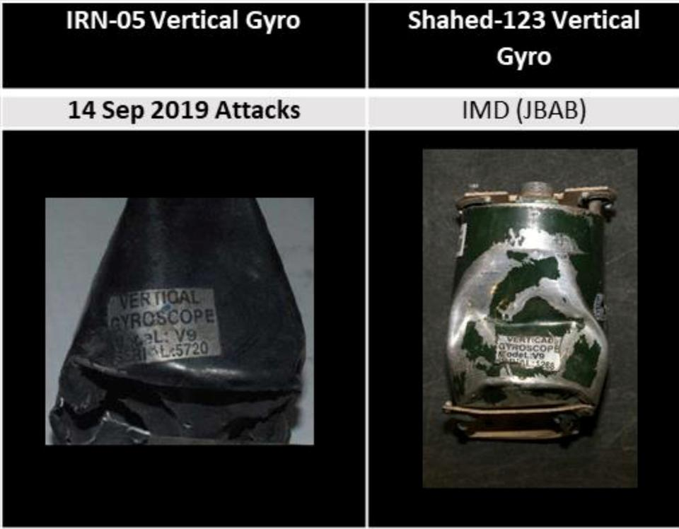 A comparison of vertical gyroscopes (L) involved in the September 14, 2019 attack on an Aramco oil facility in Saudi Arabia and from the Shahed-123, displayed in the Iranian Materiel Display, are shown in this handout image provided by a U.S. government source.