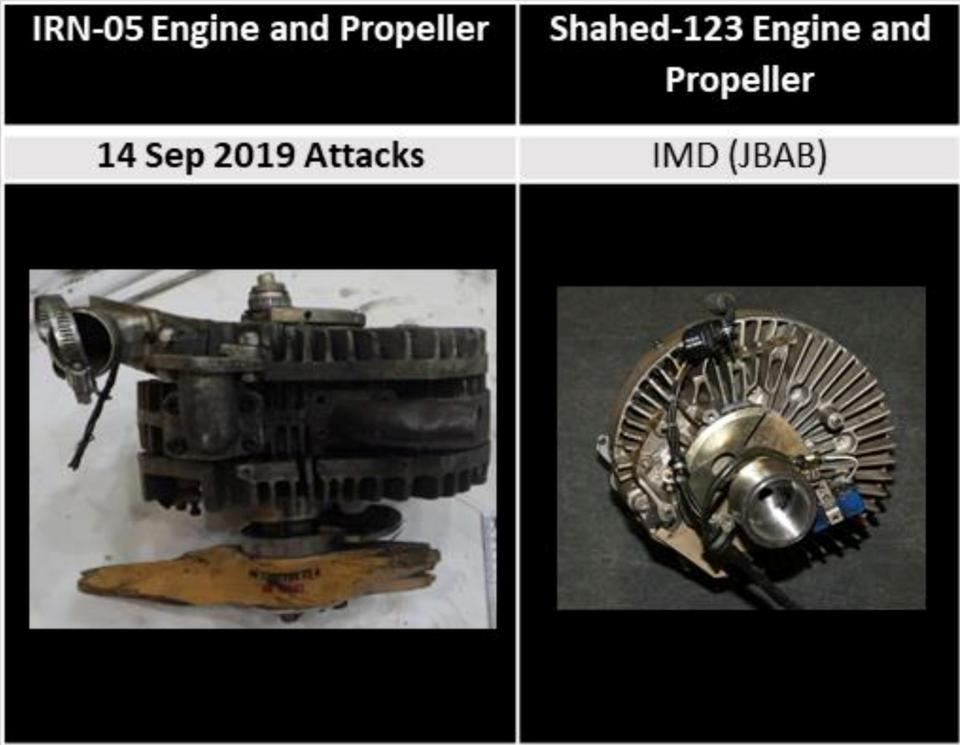 A comparison of engines (L) involved in the September 14, 2019 attack on an Aramco oil facility in Saudi Arabia and from the Shahed-123, displayed in the Iranian Materiel Display, are shown in this handout image provided by a U.S. government source.