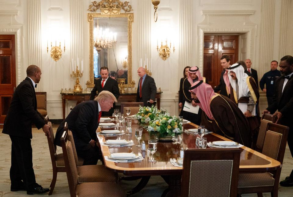In this Tuesday, March 14, 2017 file photo, President Donald Trump and Saudi Defense Minister and Deputy Crown Prince Mohammed bin Salman arrive for lunch in the State Dining Room of the White House in Washington.