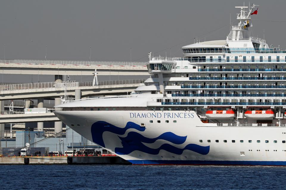 The cruise ship Diamond Princess, where dozens of passengers were tested positive for coronavirus, is seen at Daikoku Pier Cruise Terminal in Yokohama, south of Tokyo, Japan on February 10, 2020.