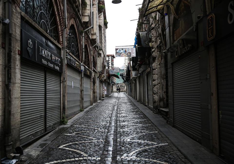 Shops are closed up and shuttered as Turkey's Istanbul goes through quiet times following the warnings to stay at home due to the coronavirus (Covid-19) pandemic on March 24, 2020.