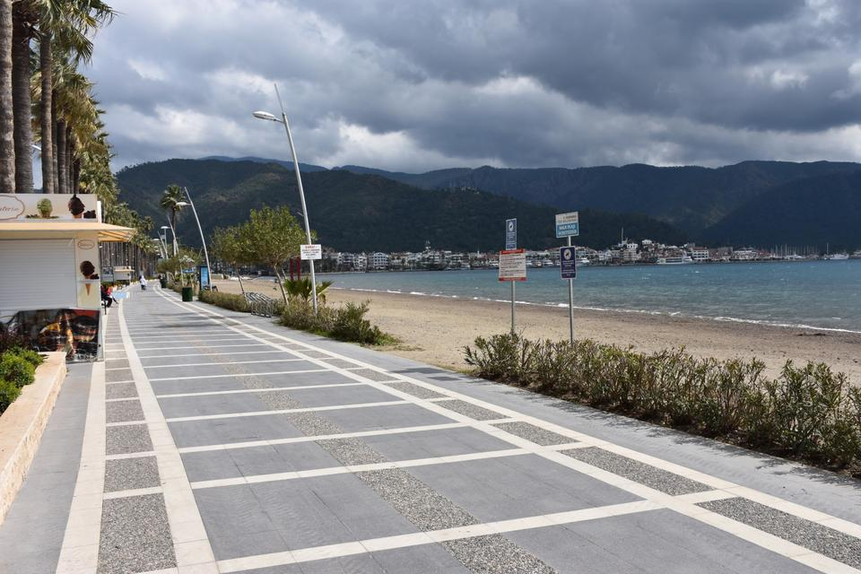 The famous beaches and roads were remained empty in Marmaris, Mugla, Turkey.