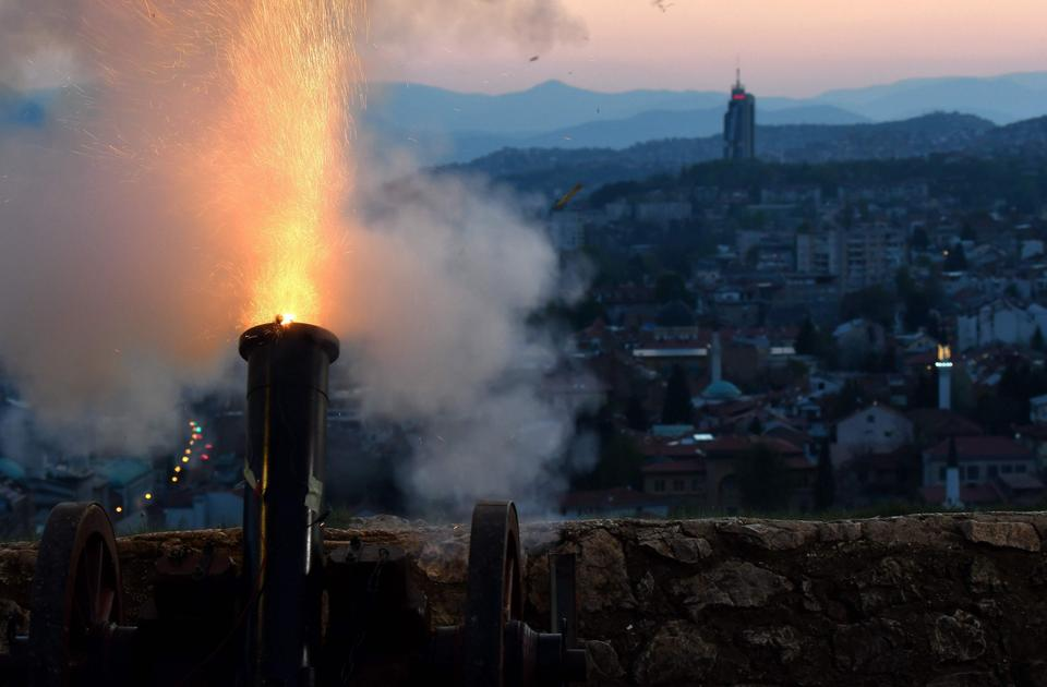 Amid a national lockdown, a cannon overlooking Sarajevo's Old Town is fired on at sunset to mark the beginning of the holy Muslim month of Ramadan in Bosnia-Herzegovina.