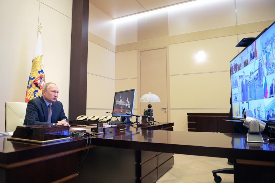 Russian President Vladimir Putin chairs a meeting on the construction and re-profiling of hospital facilities for patients infected with the coronavirus disease (COVID-19) in Russia's regions, via video link at Novo-Ogaryovo state residence outside Moscow, Russia April 17, 2020.